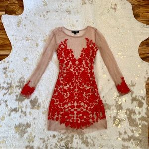 For love & lemons red embroidered mesh dress!